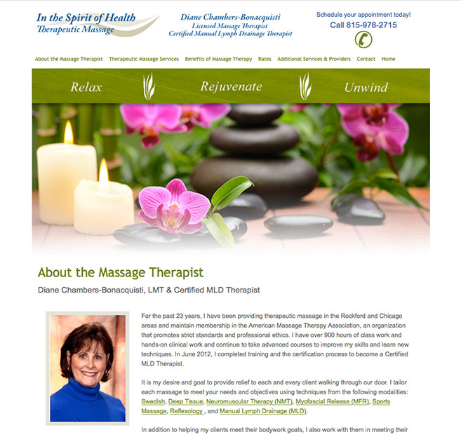 home page website design for In the Spirit of Health