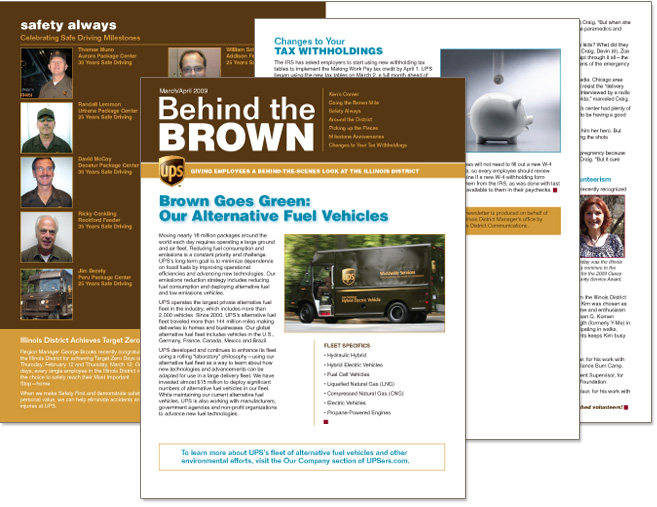 UPS newsletter cover design