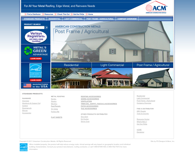website design for American Construction Metals