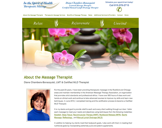 Launched Responsive Website for In the Spirit of Health Therapeutic Massage